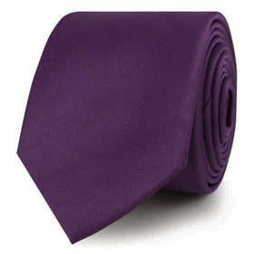 Eggplant Purple Satin Skinny Tie