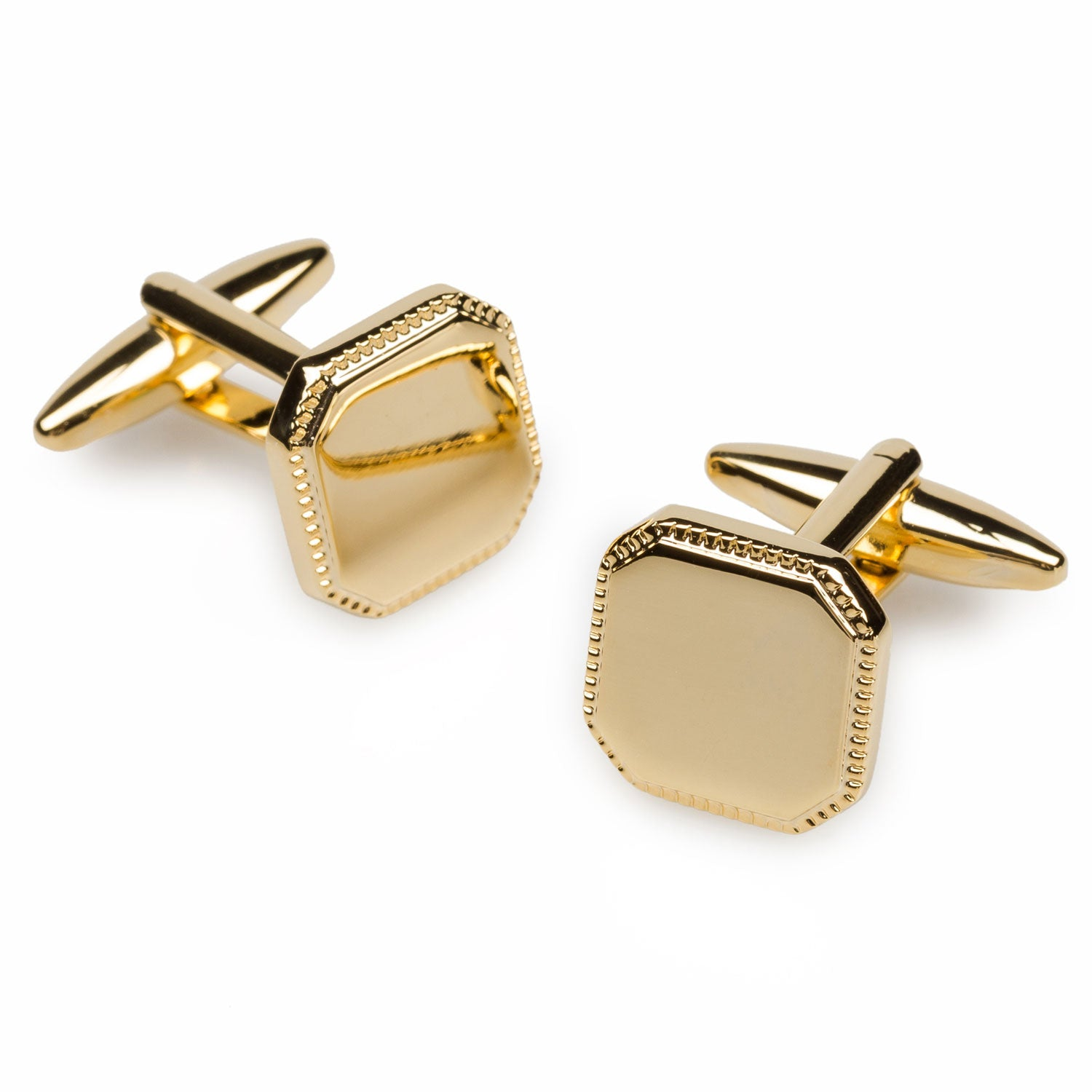 Gold Toned Etched Oval Greek Letter Theta Cufflinks
