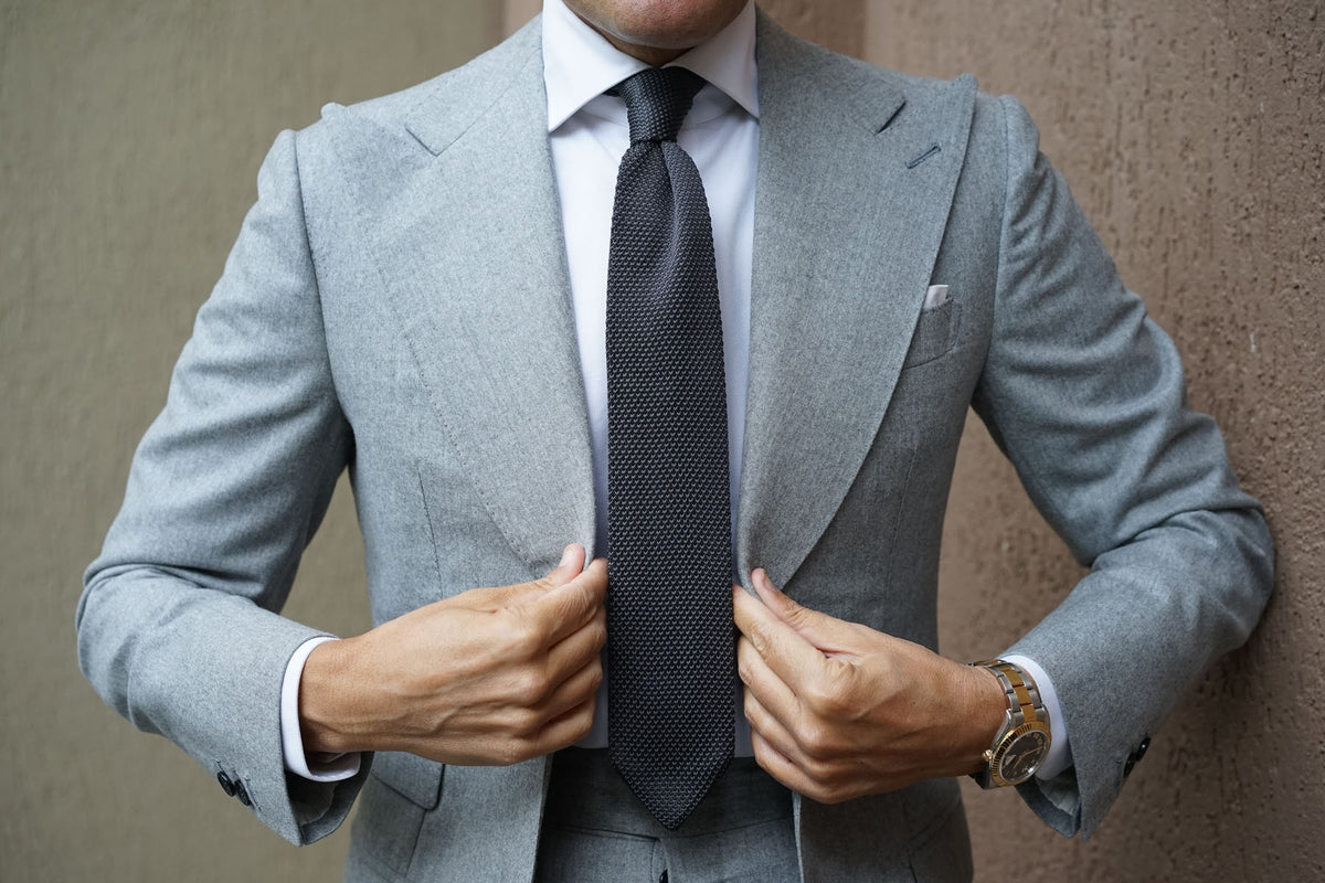 Elan Argent Grey Knitted Tie