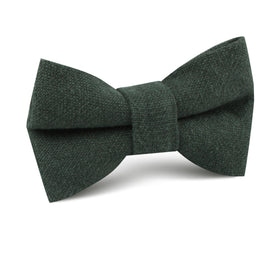 Emerald Dark Green Linen Kids Bow Tie