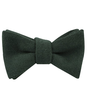 Emerald Dark Green Linen Self Bow Tie