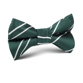 Emerald Green Double Stripe Kids Bow Tie