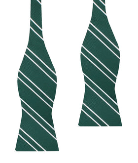 Emerald Green Double Stripe Self Bow Tie