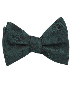 Emerald Green Paisley Self Bow Tie