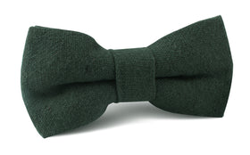 Emerald Dark Green Linen Bow Tie