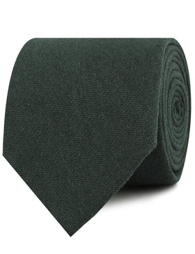 Emerald Dark Green Linen Necktie
