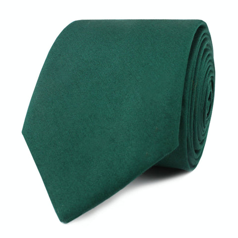 Emerald Green Cotton Skinny Tie