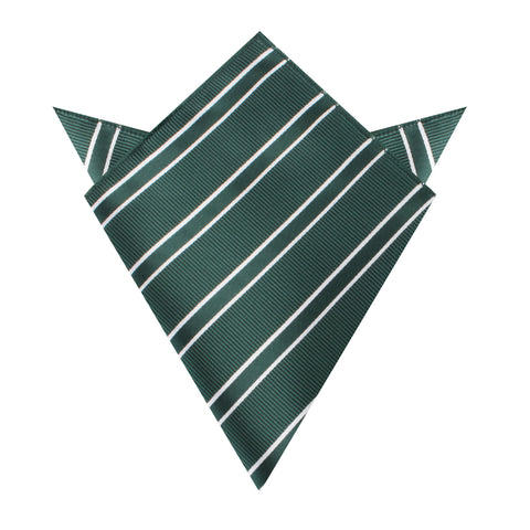 Emerald Green Double Stripe Pocket Square