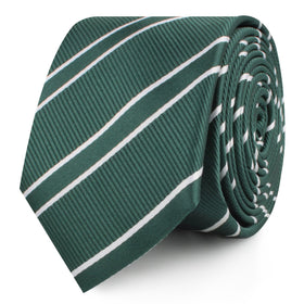 Emerald Green Double Stripe Skinny Tie