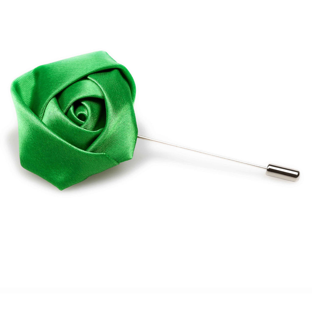 Emerald Green Satin Rose Lapel Pin