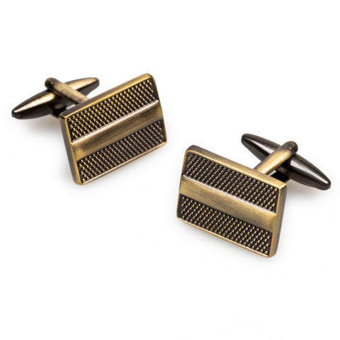 Emperor Akbar Antique Brass Rectangle Cufflinks