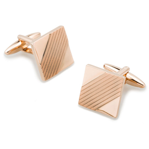Emperor Qin Shi Rose Gold Square Cufflinks