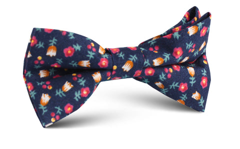 English Dahlias Floral Bow Tie