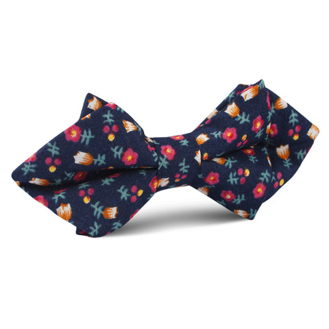 English Dahlias Floral Diamond Bow Tie