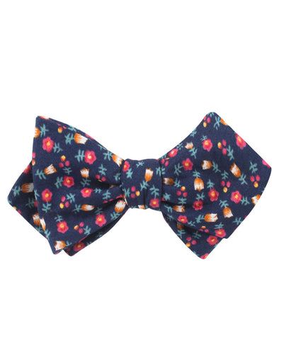 English Dahlias Floral Diamond Self Bow Tie