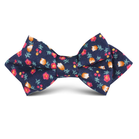English Dahlias Floral Kids Diamond Bow Tie