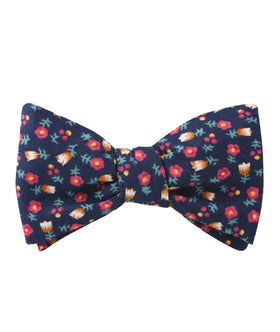 English Dahlias Floral Self Bow Tie