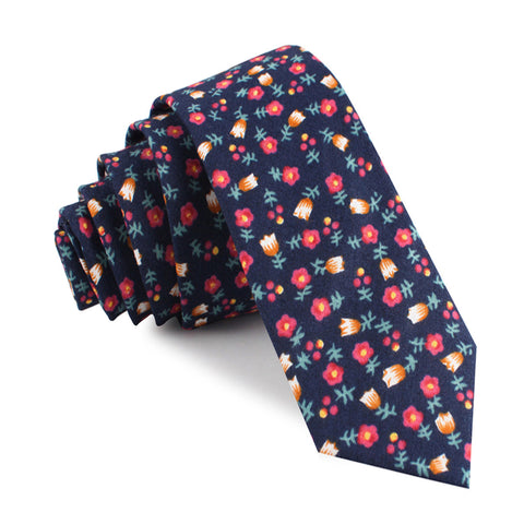 English Dahlias Floral Skinny Tie