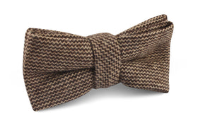 Espresso Brown Zigzag Wool Bow Tie