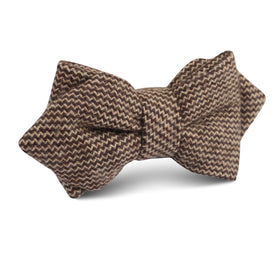 Espresso Brown Zigzag Wool Diamond Bow Tie