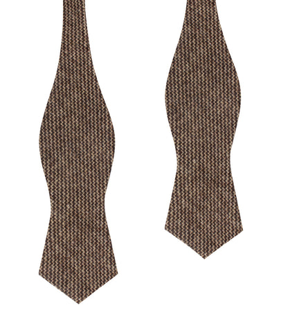 Espresso Brown Zigzag Wool Diamond Self Bow Tie