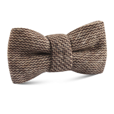 Espresso Brown Zigzag Wool Kids Bow Tie
