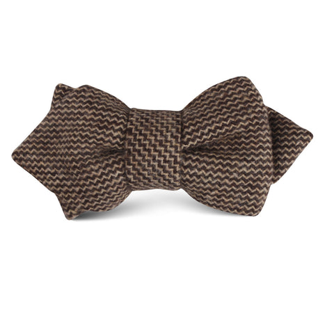 Espresso Brown Zigzag Wool Kids Diamond Bow Tie