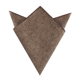 Espresso Brown Zigzag Wool Pocket Square
