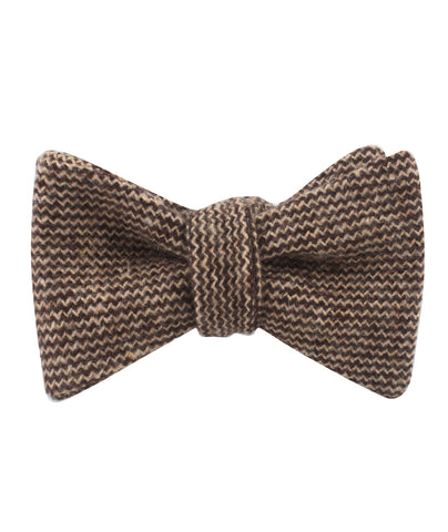 Espresso Brown Zigzag Wool Self Bow Tie