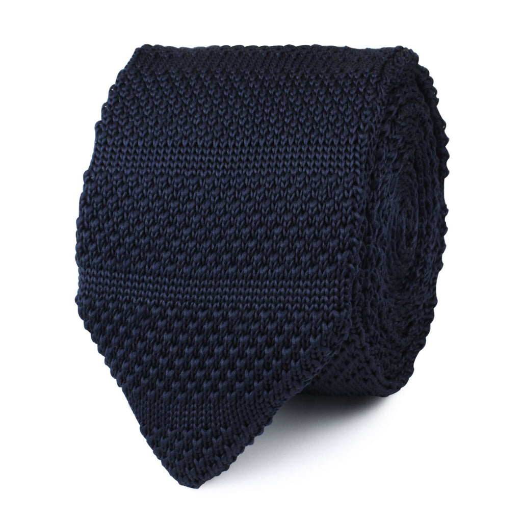 Essaouira Navy Knitted Tie | Mens Point Knit Ties Men Pointed | OTAA