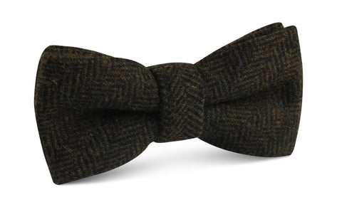Essex Green Herringbone Textured Wool Bow Tie