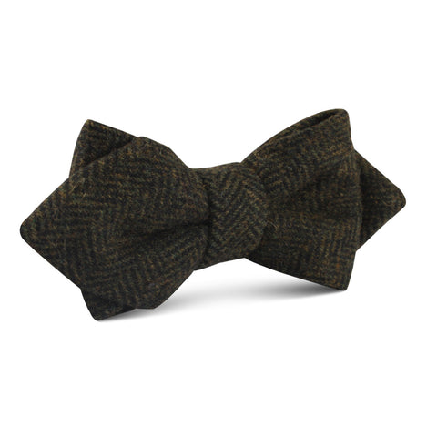 Essex Green Herringbone Textured Wool Diamond Bow Tie