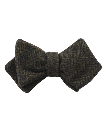 Essex Green Herringbone Textured Wool Diamond Self Bow Tie