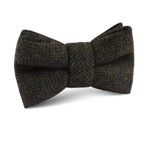Essex Green Herringbone Textured Wool Kids Bow Tie