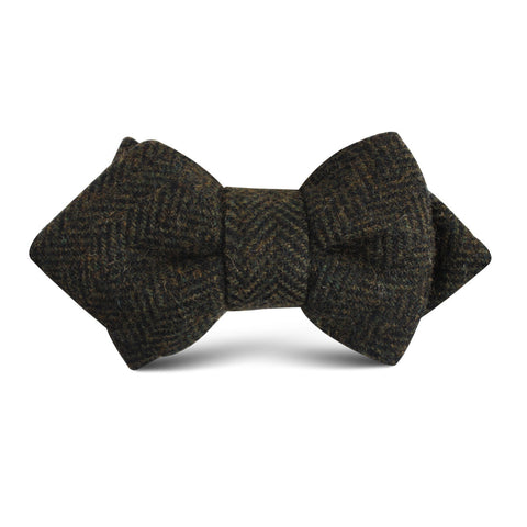 Essex Green Herringbone Textured Wool Kids Diamond Bow Tie