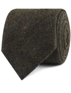 Essex Green Herringbone Textured Wool Tie