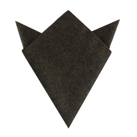 Essex Green Herringbone Textured Wool Pocket Square