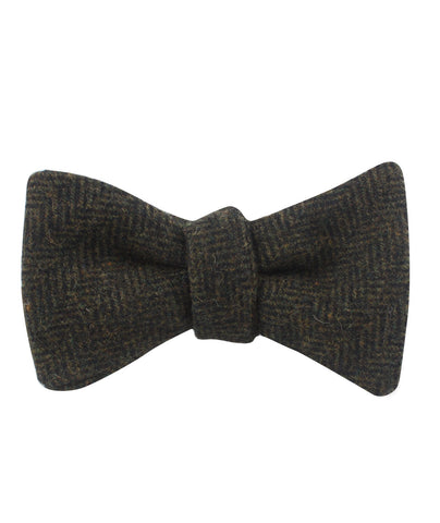 Essex Green Herringbone Textured Wool Self Bow Tie