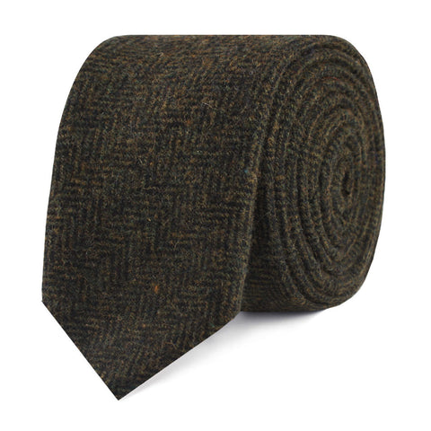 Essex Green Herringbone Textured Wool Skinny Tie