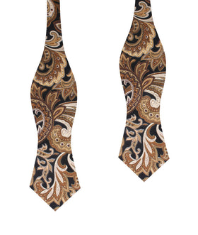 Filicudi Brown Paisley Diamond Self Bow Tie