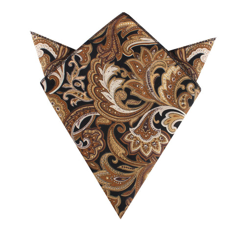 Filicudi Brown Paisley Pocket Square