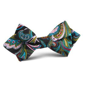 Filicudi Maroon & Green Paisley Diamond Bow Tie