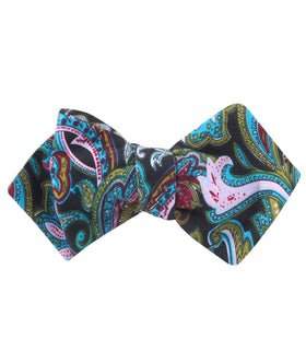 Filicudi Maroon & Green Paisley Diamond Self Bow Tie