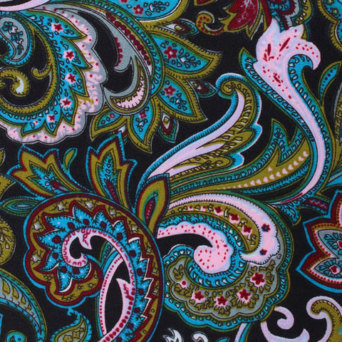 Filicudi Maroon & Green Paisley Pocket Square