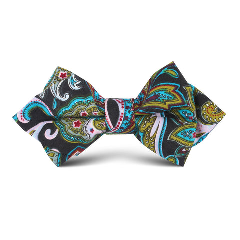 Filicudi Maroon & Green Paisley Kids Diamond Bow Tie