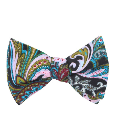 Filicudi Maroon & Green Paisley Self Bow Tie