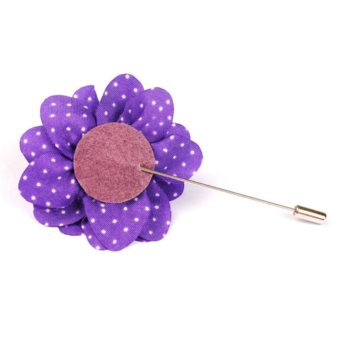 Fiorente Purple With White Polka Dots Lapel Flower