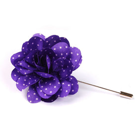 Fiorente Purple With White Polka Dots Lapel Flower Pin Front Boutonniere