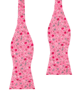 Flamenco Pink Floral Self Bow Tie