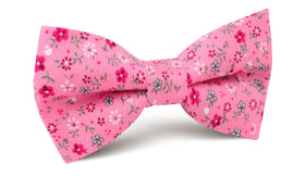 Flamenco Pink Floral Bow Tie